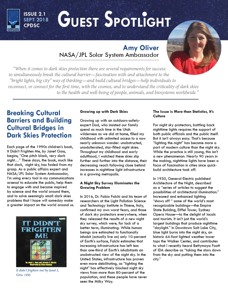 September Guest Spotlight Amy Oliver Colorado Plateau Dark Sky With An Understanding Of This First Requirement Electric Cooperative